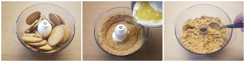 Amalgamare biscotti e burro - Ricetta torta fredda