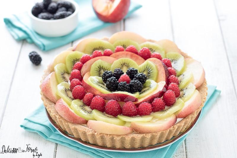 Torta senza cottura alla frutta , Crostata di frutta senza cottura ,  Crostata estiva veloce ,