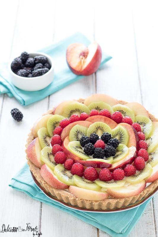 Torta senza cottura alla frutta - Crostata di frutta senza cottura - Crostata estiva veloce - Crostata senza cottura