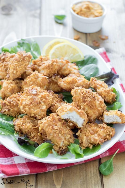 Petto di pollo impanato al forno con corn flakes