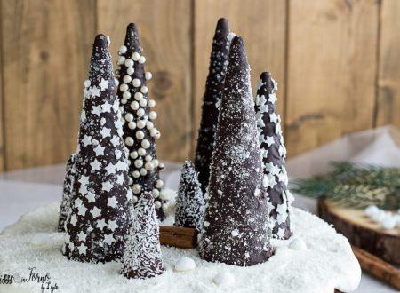 Alberi di cioccolato innevati di Natale, tutorial passo passo