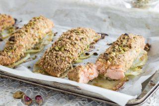 Filetto di salmone al forno in crosta di pistacchi