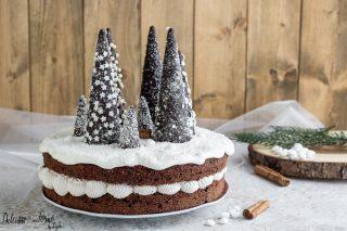Torta di Natale semplice con alberelli, ricetta dolce facile per Natale - torta natalizia semplice