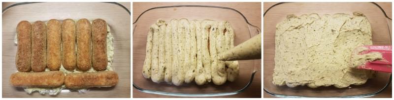 Tiramisù al pistacchio: primo stato di savoiardi