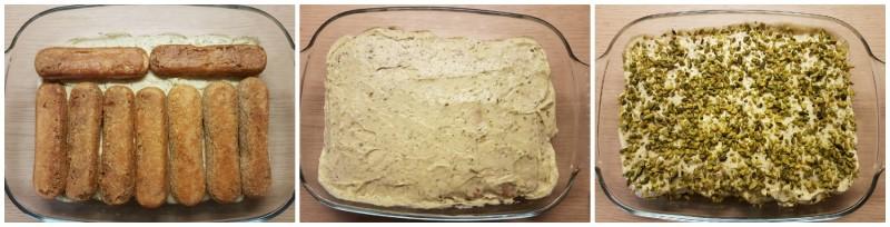 Tiramisù al pistacchio: ultimo strato di savoiardi, crema e granella di pistacchi
