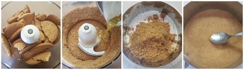 La base di biscotti della cheesecake alle fragole
