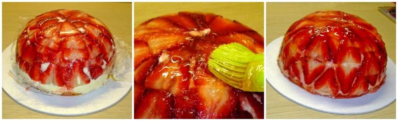 Zuccotto alle fragole; la finitura e decorazione
