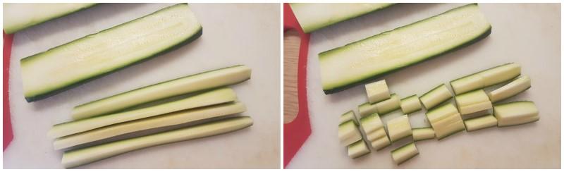 Riso venere: preparazione delle zucchine