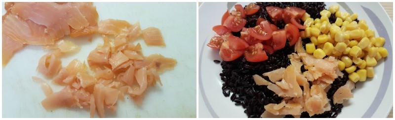 Preparazione del riso venere e salmone