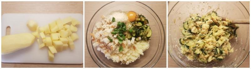 Impasto del polpettone di patate e zucchine