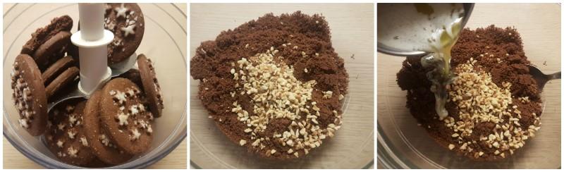 Cheesecake allo yogurt: la base al cioccolato e nocciole