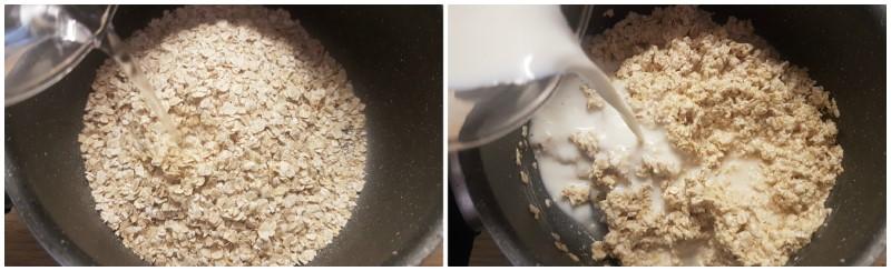 Preparazione dei fiocchi di avena per il porridge
