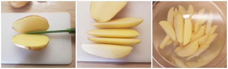 Patate a spicchi e ammollo - Patate al forno con la buccia
