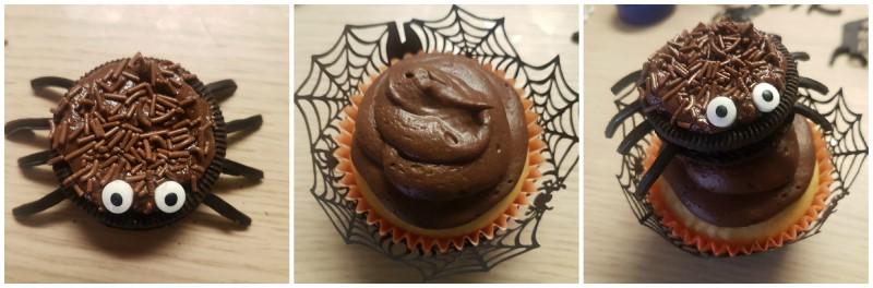 Fase finale ricetta Cupcake Halloween con ragnetto - dolci per Halloween