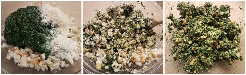 Ricetta Canedergli agli spinaci: impasto pronto