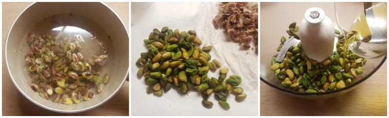 Preparazione dei pistacchi - Pasta con pesto di pistacchi