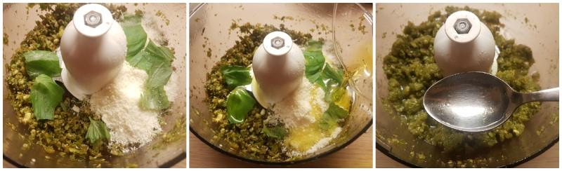 Preparazione del pesto - Pasta al pesto di pistacchi