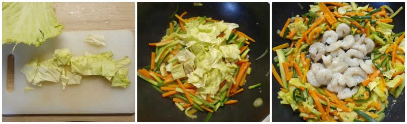 Cottura dei gamberi - ricotta Noodles con verdure