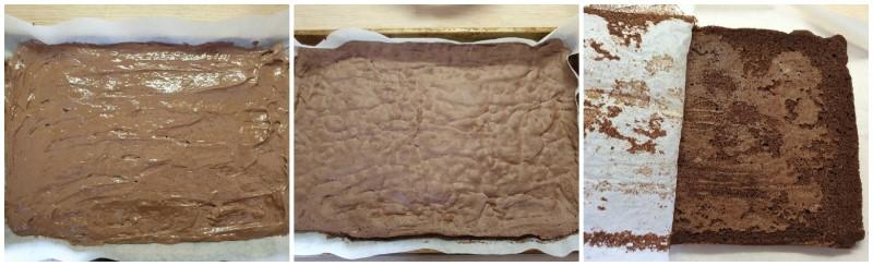 Cottura della base della torta mousse ai tre cioccolati