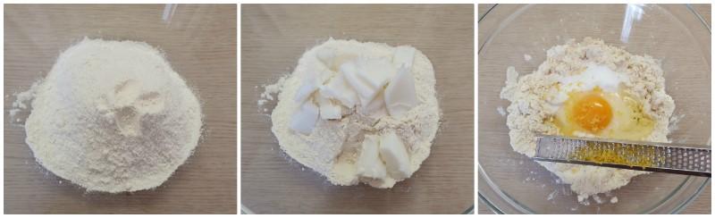 Inserimento degli ingredienti della Pasta frolla per pastiera