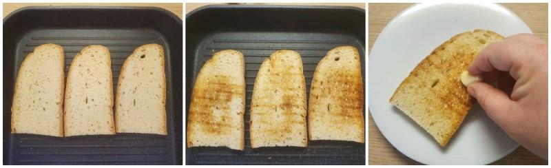 Il pane per bruschette - pane tostato in padella o in forno
