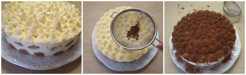Tiramisù decorato con cacao amaro