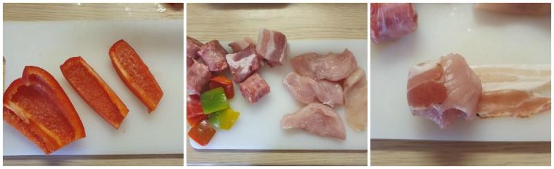 Preparazione di carne e verdure - Ricetta spiedini di carne