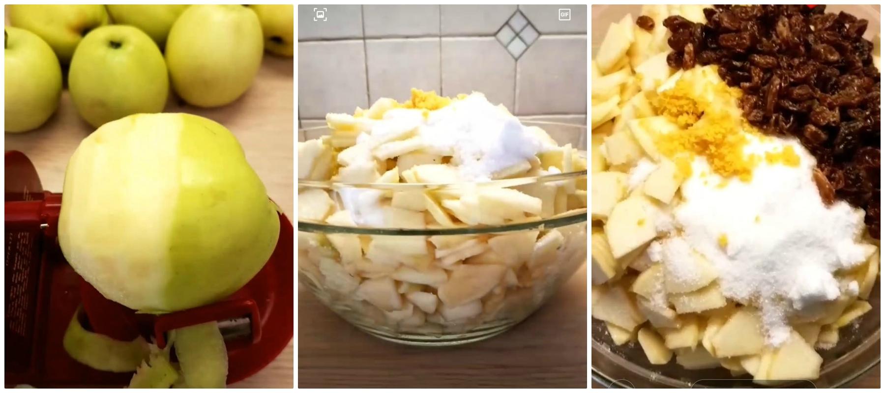 Preparazione delle mele e del ripieno - Ricetta Strudel di mele con pasta sfoglia