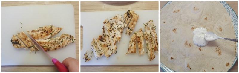 Tagliare il pollo a striscioline - Pollo con piadina