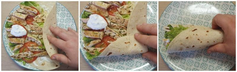 Piadina arrotolata con pollo e insalata - Ricetta wrap