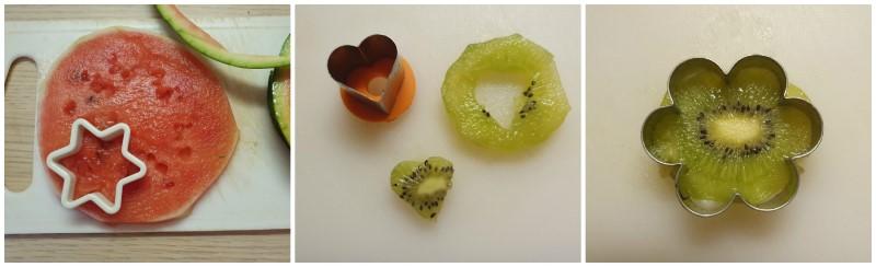 Spiedini di frutta per bambini (con forme a cuore, stella, fiore)