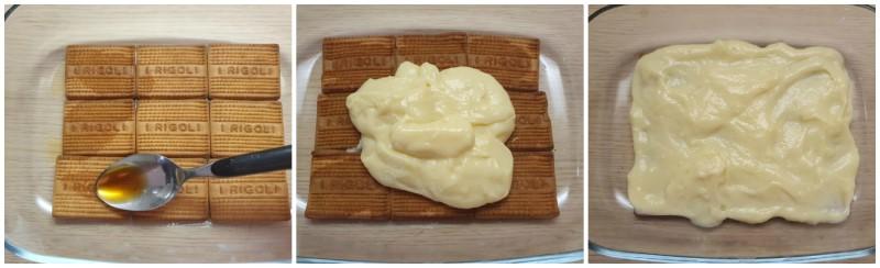 Gli strati di biscotti con crema pasticcera