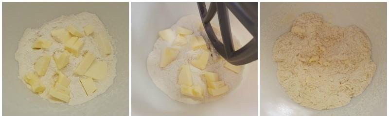 Lavorazione burro e farina - Ricetta Cestini di pasta frolla