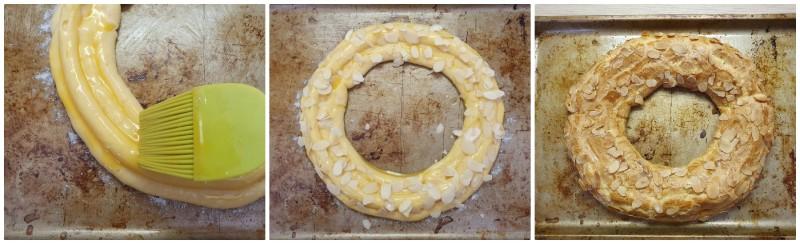 Spennellare con uovo e decorare con le mandorle - Paris Brest ricetta originale