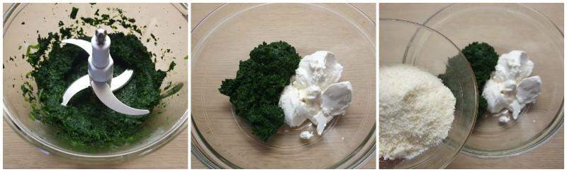 Amalgamare spinaci, ricotta e grana - Ricetta Torta salata di pasta sfoglia