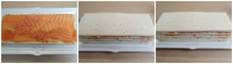 Creare la mattonella di salmone con vari strati