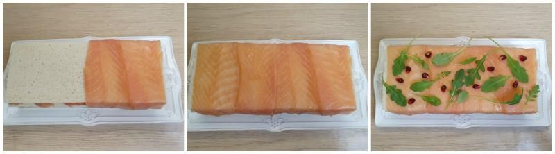 Decorazione dell'Antipasto con salmone affumicato