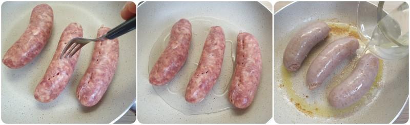 Cottura della salsiccia in padella - Ricetta Salsicce e friarielli