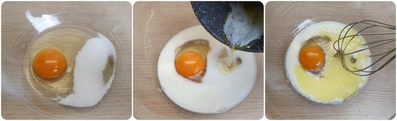 Lavorare uova zucchero e burro - Ricetta bombette di Carnevale