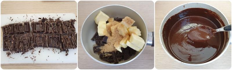 Fondere il cioccolato con burro e zucchero - Ricetta torta cioccolatino