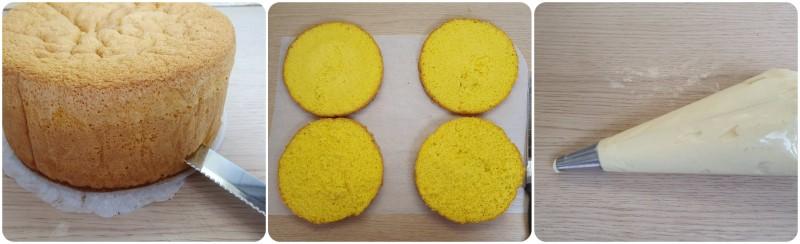 Dividere il pan di spagna a strati - Torta mimosa ricetta