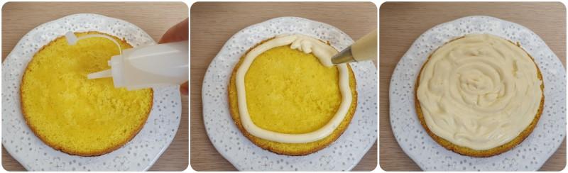 Farcire la base con la crema - Ricetta torta mimosa