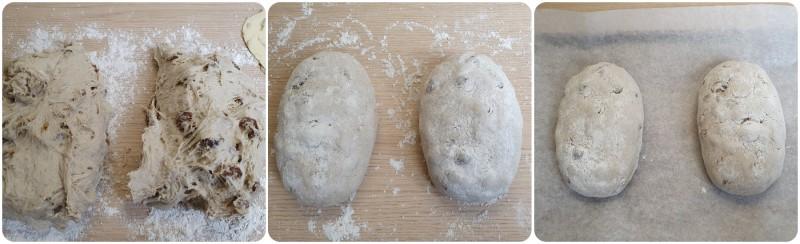 Formare le pagnotte di pane all'uvetta