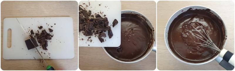Unire il cioccolato fondente