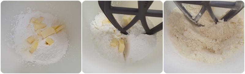 Lavorare farina, zucchero e burro - Ricetta Crostata al limone