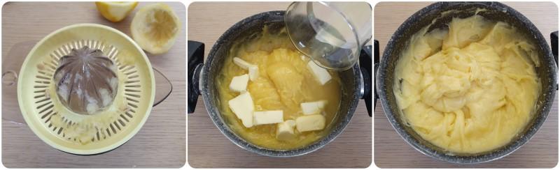 Aggiungere burro e succo di limone - Crema al limone ricetta