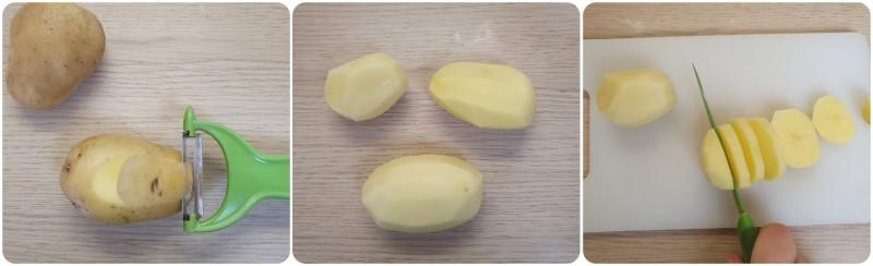 Pulire le patate - Spiedini al forno con patate