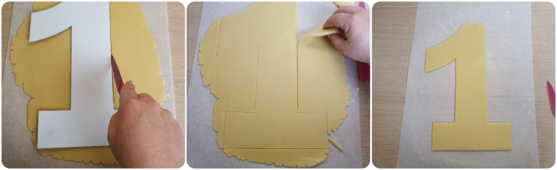 Ritagliare la frolla della torta a forma di numero