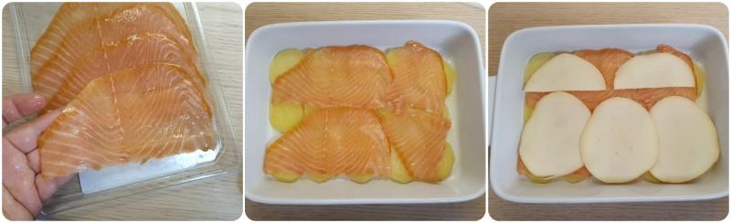 Alternare le patate con salmone e provola - Ricetta millefoglie di patate