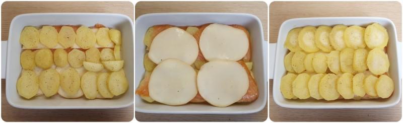 Fare 3 strati con gli ingredienti - Sformato di patate con salmone